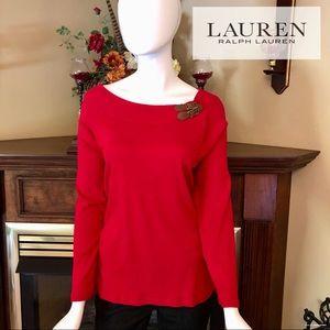 EUC - Ralph Lauren - red long sleeve tee - PLUS 2X